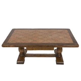 Baroque Style Oak Tile Topped Coffee Table