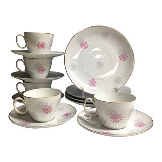 1970s Johann Haviland Rosenthal Cake and Tea Set for 4 - Cups, Saucers, Plates (14 Pcs.)
