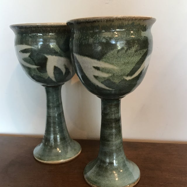 Blue & Green Ceramic Goblets - A Pair - Image 4 of 9