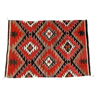 "Red & Black Navajo Rug - 5'8"" X 4'1"""