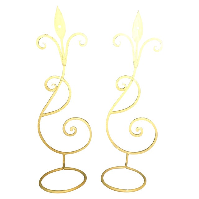 Wrought Iron Wall Candle Sconces - A Pair - Image 1 of 6