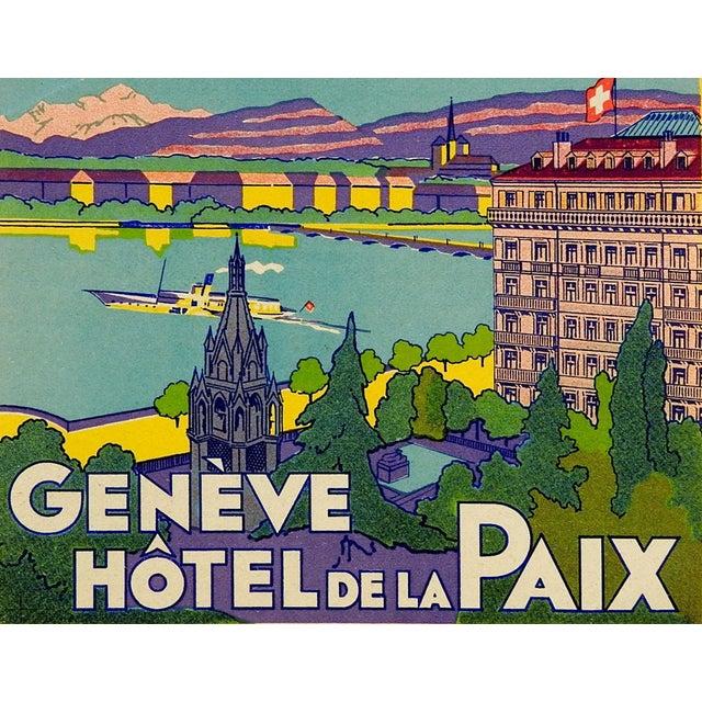 Vintage Luggage Label, Geneve Hotel De La Paix - Image 3 of 3