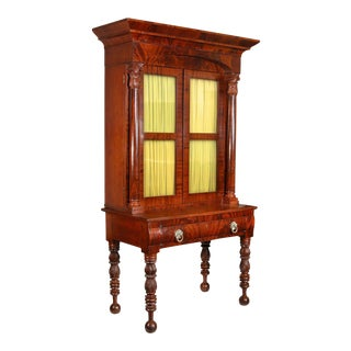 Carved Mahogany Classical Bookcase Desk