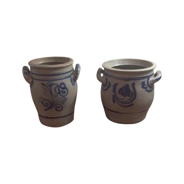 Blue & Grey Salt Glazed Stoneware - A Pair - Image 1 of 7