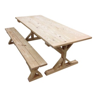 Yellow Pine Table & Bench - A Pair