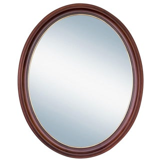 Oval Cherry Wood Mirror with Gilding