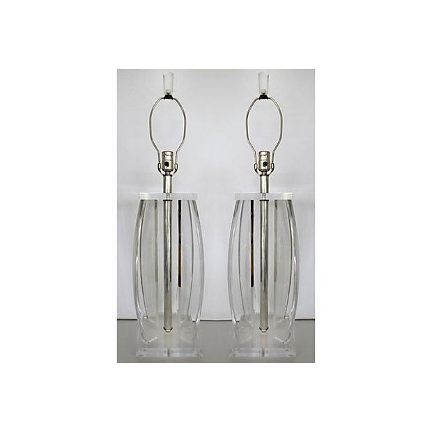 Image of Curved Column Lucite Table Lamps - A Pair