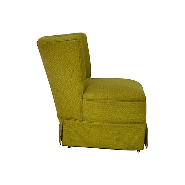Mid-Century Green Channel Tufted Slipper Chair - Image 5 of 5