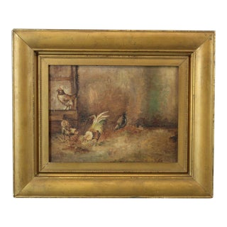 Antique Oil on Board Painting of Rooster & Chickens