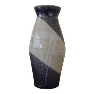 Blue & White Stripe Glazed Handmade Vase