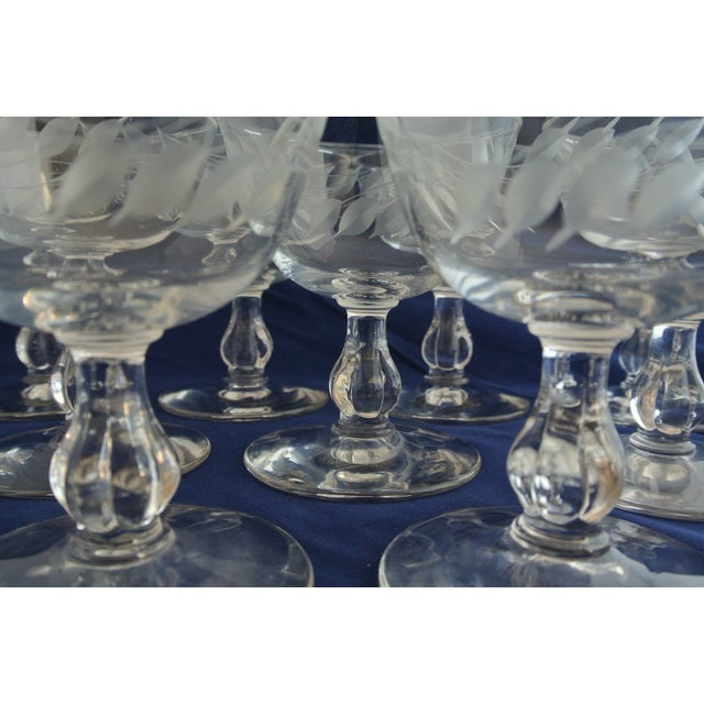 Antique Etched Crystal Champagne Coupes - Set of 9 - Image 5 of 11