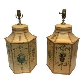 Vintage English Tole Tea Caddy Lamps - a Pair