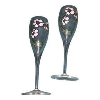 Hand Painted Champagne Glasses - A Pair