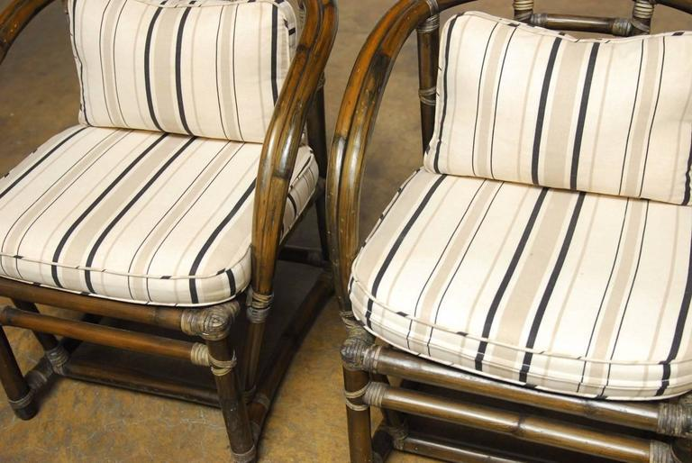 McGuire Bamboo Barrel Back Chairs   A Pair   Image 3 Of 8