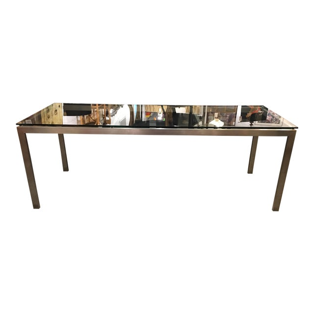 Stainless steel dining table with tempered glass chairish for Tempered glass dining table