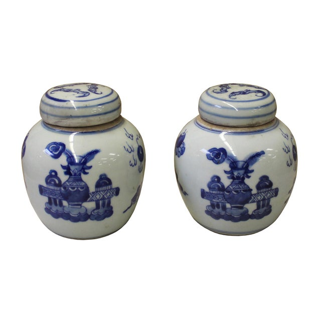Pair Blue White Small Oriental Graphic Porcelain Ginger Jars - Image 2 of 6