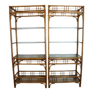 McGuire Style Rattan Etageres - A Pair