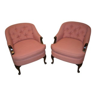 Pink Henredon Club Chairs - A Pair