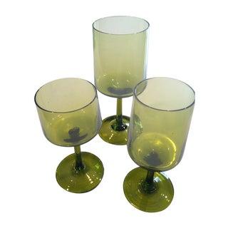 Hand Blown Green Wine Glasses - Set of 24