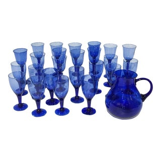 Vintage Mid-Century Stemware Blue Glasses & Pitcher - Set of 24