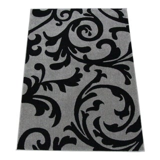 "Transitional Floral Gray & Black Rug - 5'3""x7'7"""