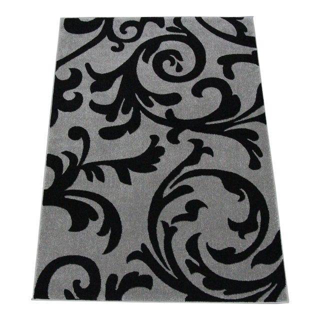 """Transitional Floral Gray & Black Rug - 5'3""""x7'7"""" - Image 1 of 6"""