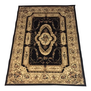 Black & Gold Floral Medallion Rug- 5′3″ × 7′2″
