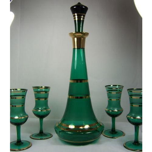 Czech Bohemian Green Decanter With 4 Glasses - Image 3 of 4