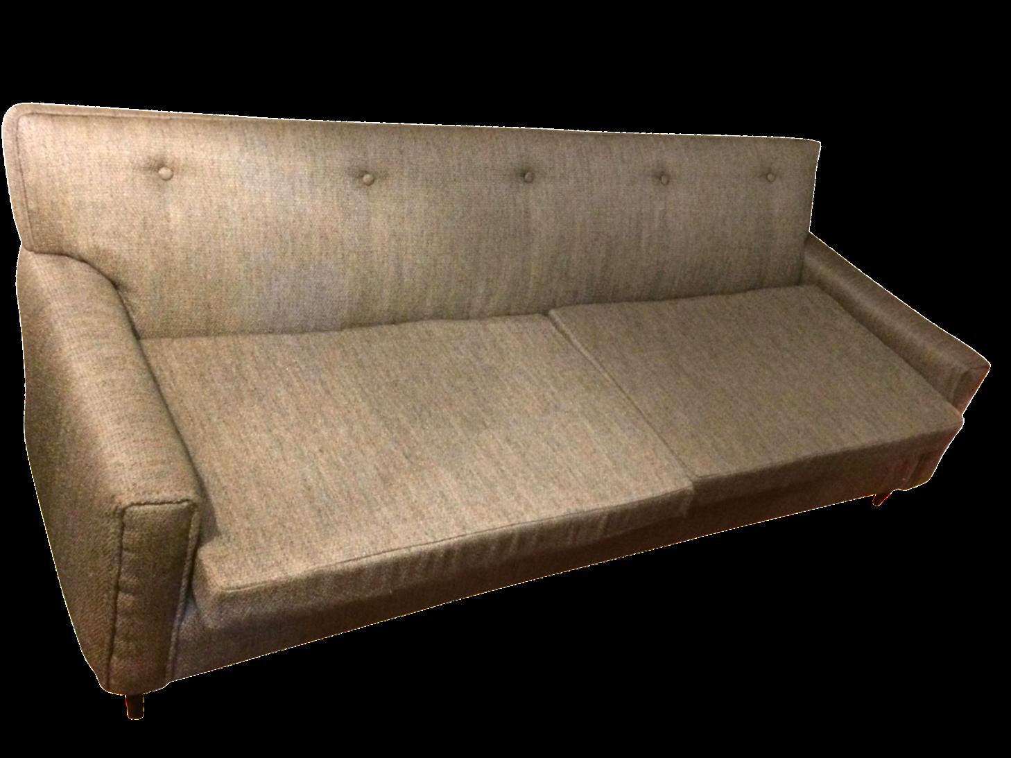 gray mid century modern tufted back sofa chairish