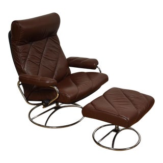 Leather Ekornes Lounge Chair & Ottoman