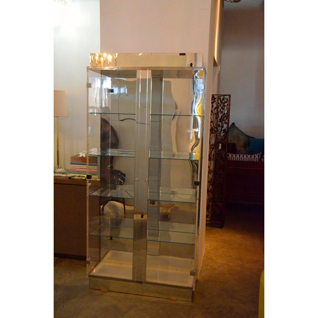 Tall Lucite Glass, Mirror and Chrome Cabinet with Upper and Lower Lighting - Image 2 of 6