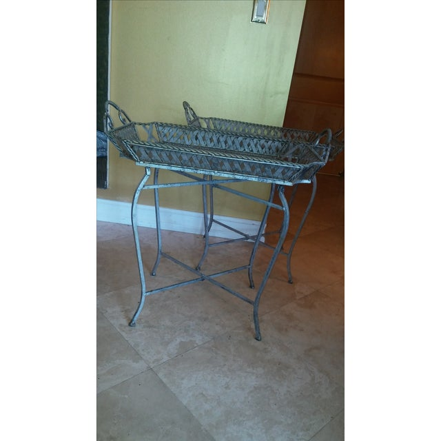 Silvery Indoor/ Outdoor Metal Tray Tables - Image 3 of 7