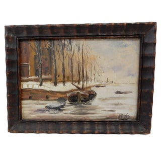 Winter Boat Oil Painting by Anton Ruig
