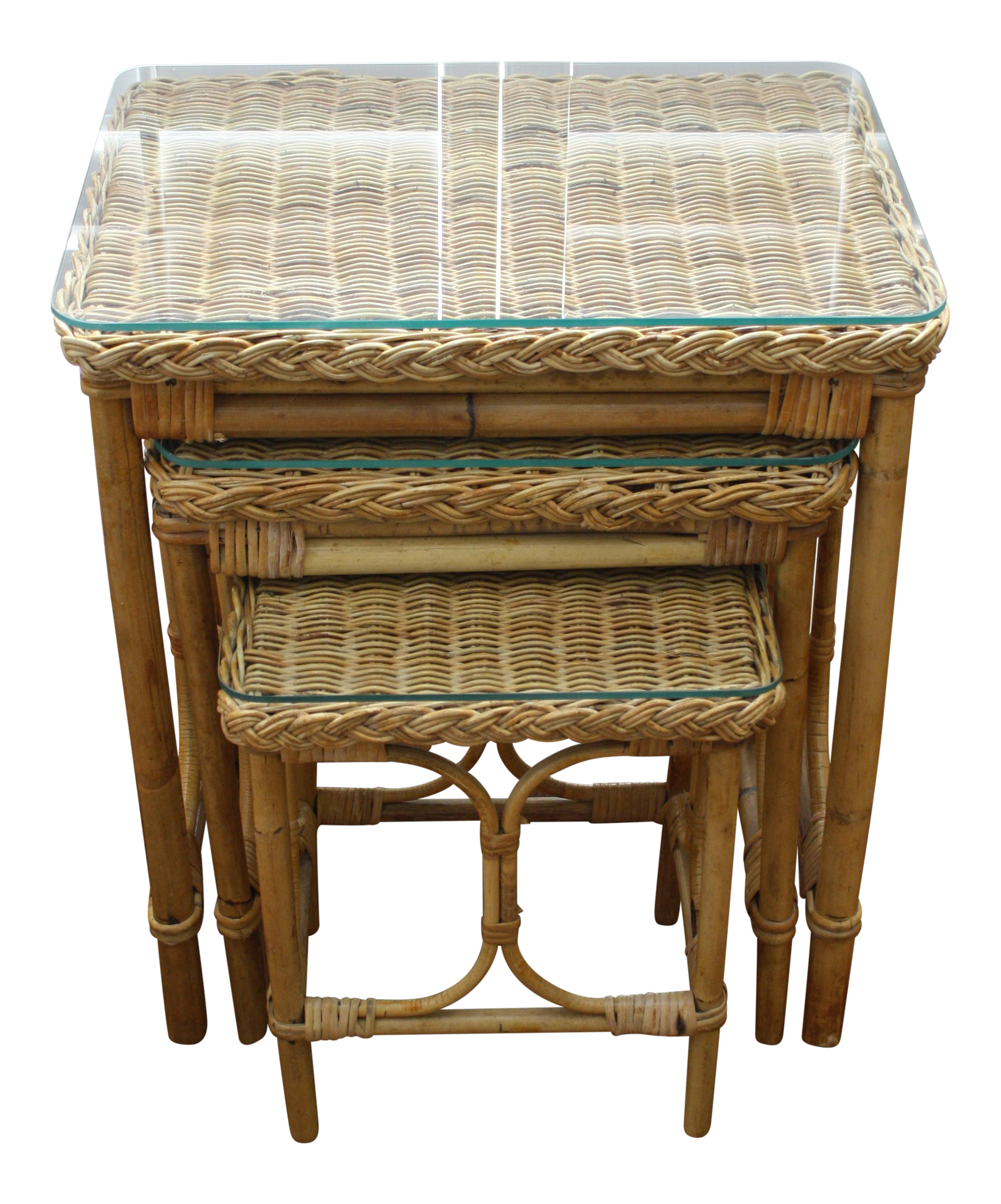 Vintage Bamboo U0026 Rattan Nesting Tables   Set Of 3