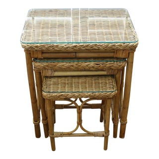 Vintage Bamboo & Rattan Nesting Tables - Set of 3