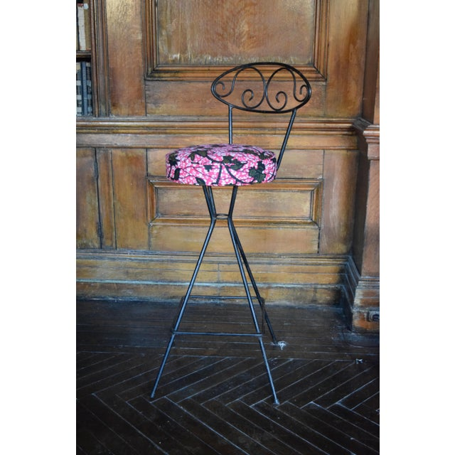 Vintage Wrought Iron Swivel Bar Stools - A Pair - Image 3 of 6