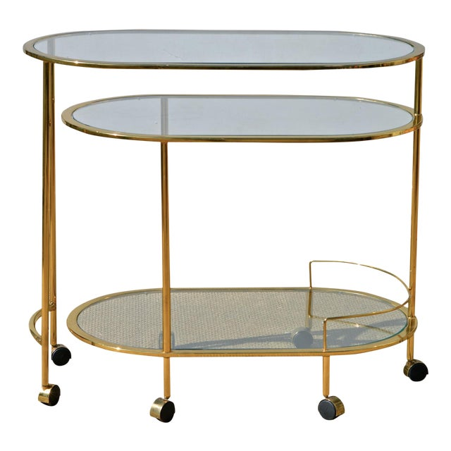 Brass & Glass Bar Cart - Image 1 of 9