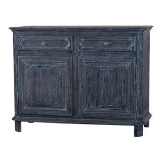 Antique French Régence Style Black Limed Oak Buffet circa 1770