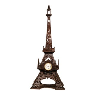 19th Century French Wood Carved Eiffel Tower With Clock