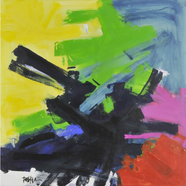 Multicolored Abstract Oil Painting - Image 1 of 2