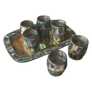Vintage Abalone & Brass Shot Glasses & Tray - 7
