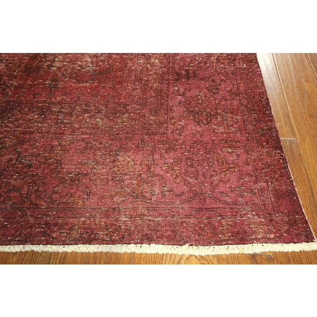 Persian Overdyed Rose Red Tabriz Rug 10' x 13' - Image 5 of 8