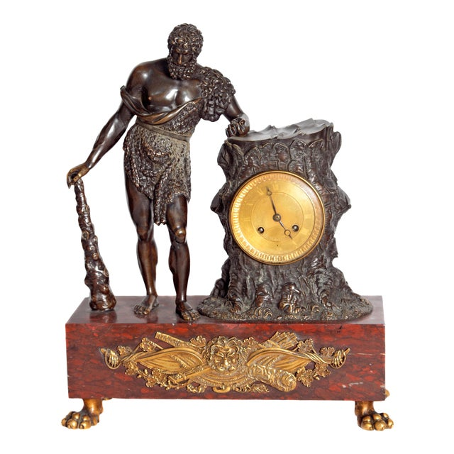 """French Empire """"Farnese Hercules"""" Mantel Clock attributed to Claude Galle - Image 1 of 11"""