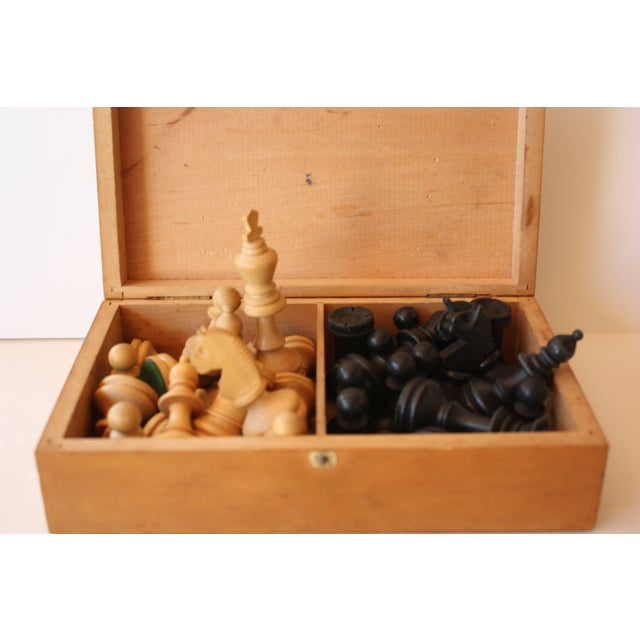 Mid-century Carved Wood Chess Pieces With Box - Image 5 of 5