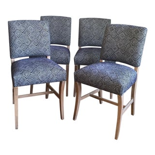 Light Wood Upholstered Blue Geometric Dining Chairs - Set of Four
