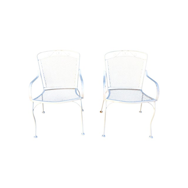 White Outdoor Patio Chairs - A Pair - Image 1 of 4