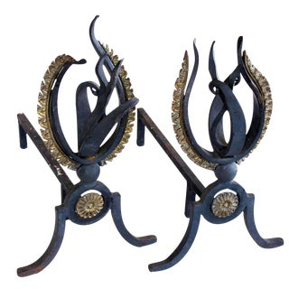 Lively Pair of French 1940s Hand-Wrought Iron Andirons of a Stylized Flame