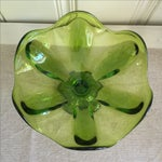 Image of Mid-Century Green Glass Fluted Bowl
