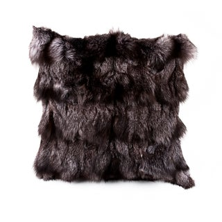 Charcoal Fox Fur Pillow