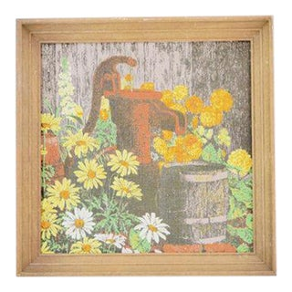 Daisies by the Well Linen Framed Artwork